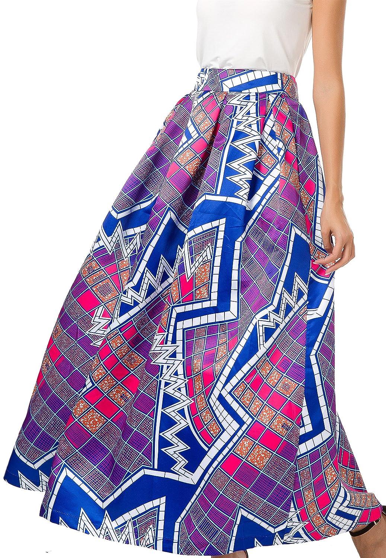 NINEWE Women's White Contrast Polka Dot Print Maxi Skirt QZ02