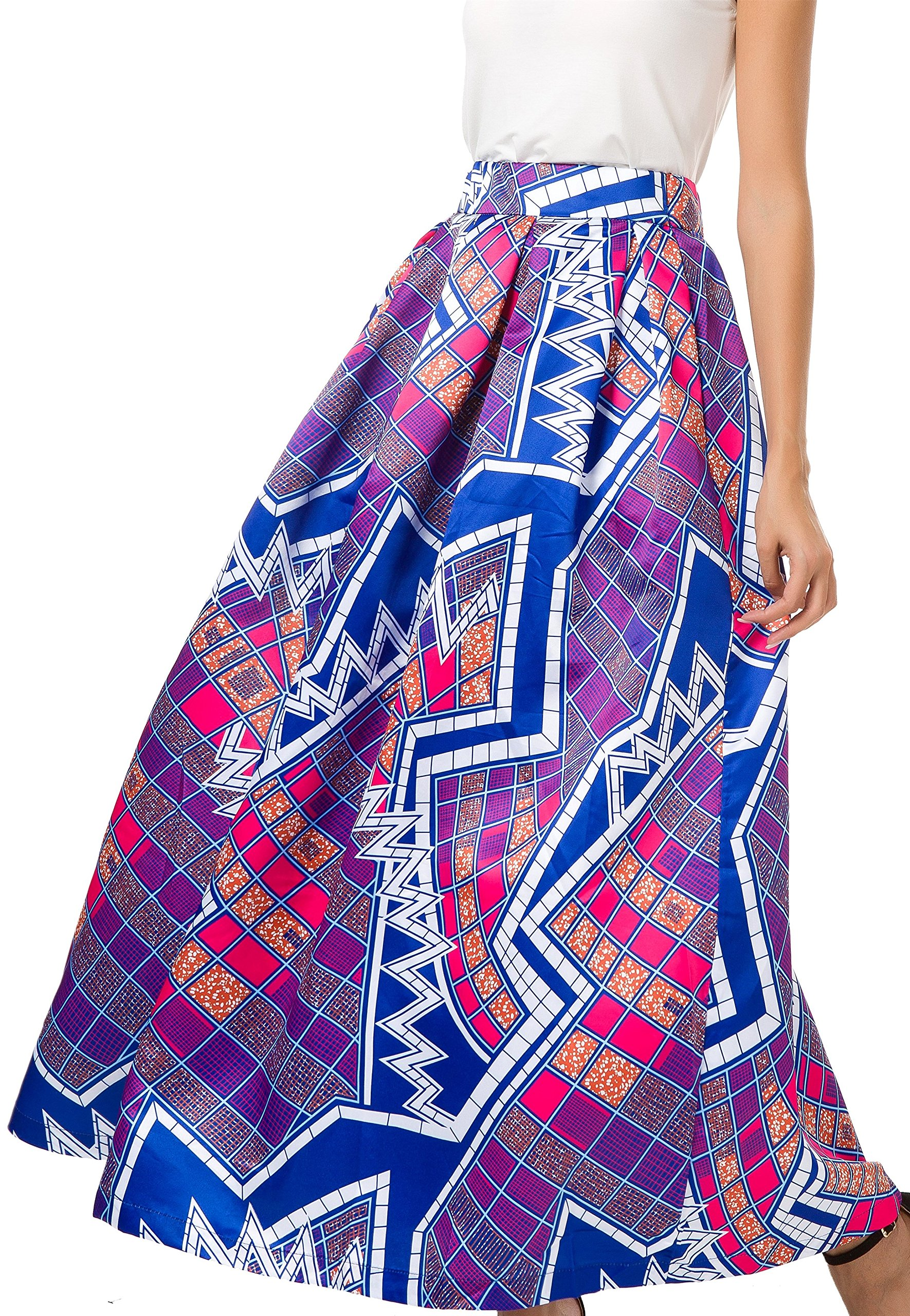NINEWE Women's High Waist Flared Skirt Pleated Floral Skirt with Pocket Purple Geometric 12