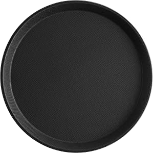 MM Foodservice Set of 2 Non-Slip Serving Tray, Round Non-skid Tray, Professional 11 inch heavy duty serving tray, Black