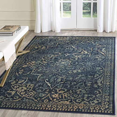 Safavieh Vintage Premium Collection VTG175-2333 Transitional Oriental Medallion Blue and Yellow Distressed Silky Viscose Area Rug 2 x 3