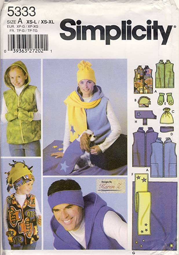 d620014efc9 Amazon.com  Simplicity Sewing Pattern 5333 - Use to Make - Unisex Fleece  Accessories - Hats