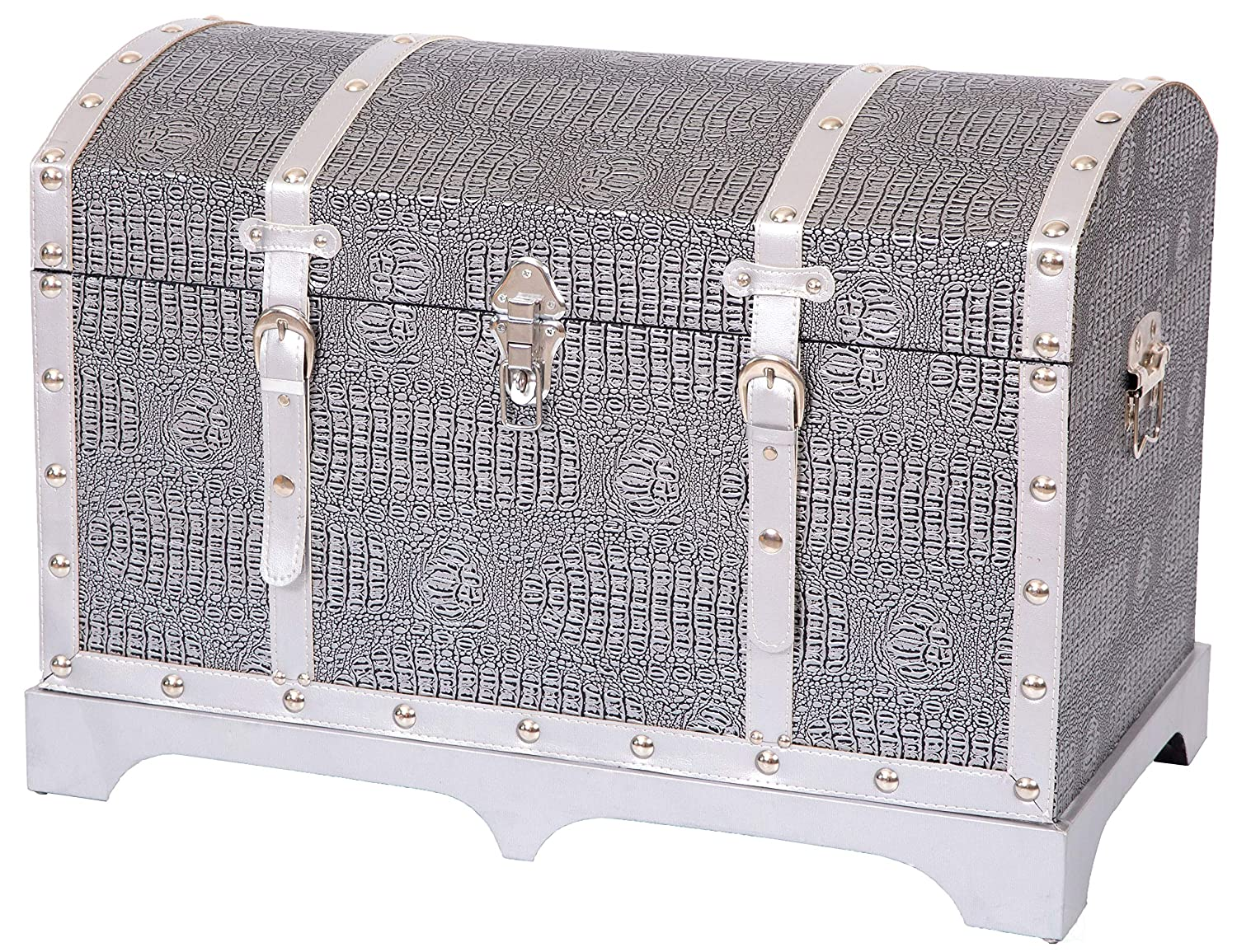 Vintiquewise QI003409.L Vintage Faux Crocodile Leather Metallic Silver Trunk with Belted Strap, 26.75  W x 15.75  D x 19.25  H