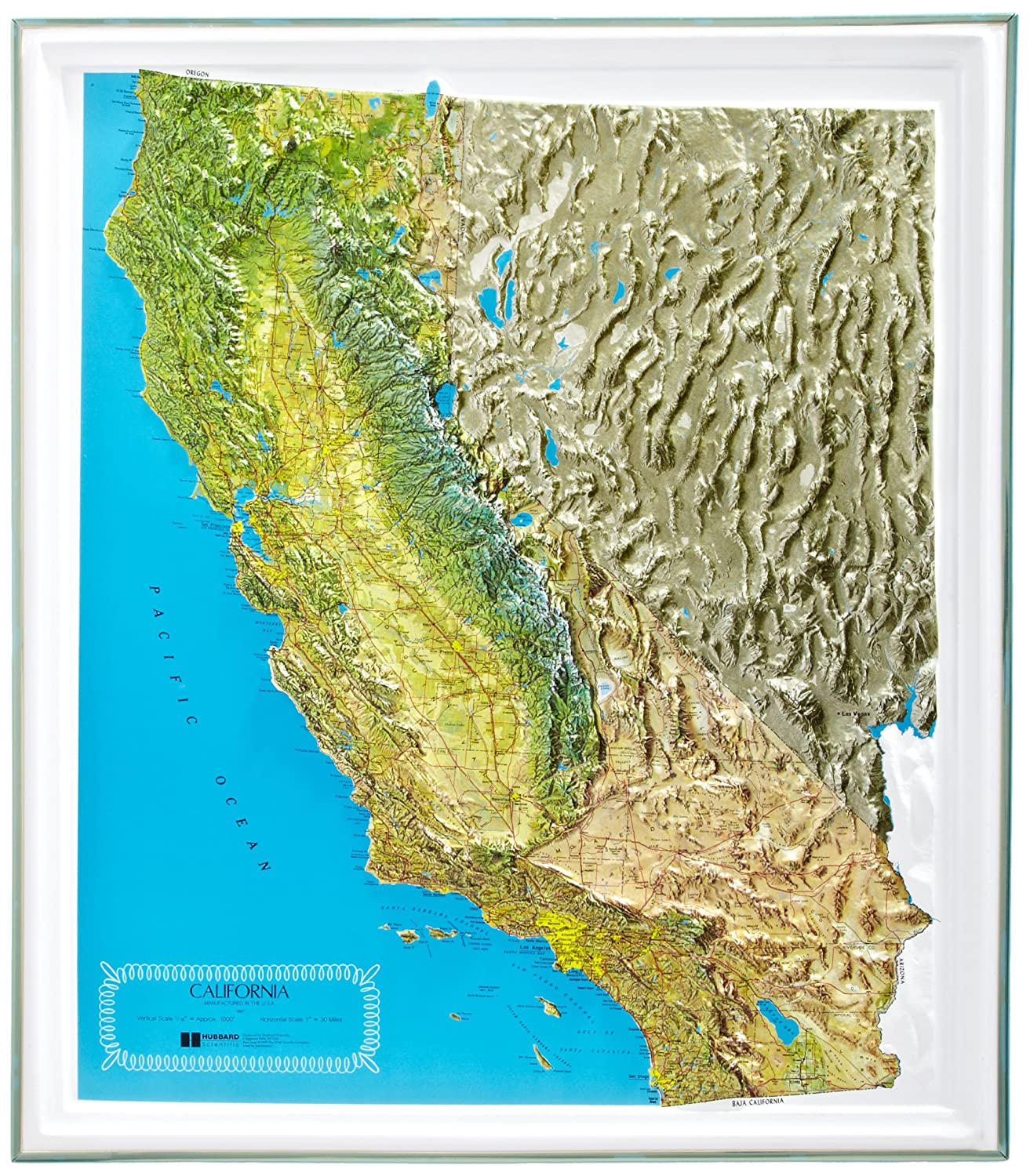 American Educational California NCR Series Map with Gold Plastic Frame 25-1//2 Length x 22-1//2 Width