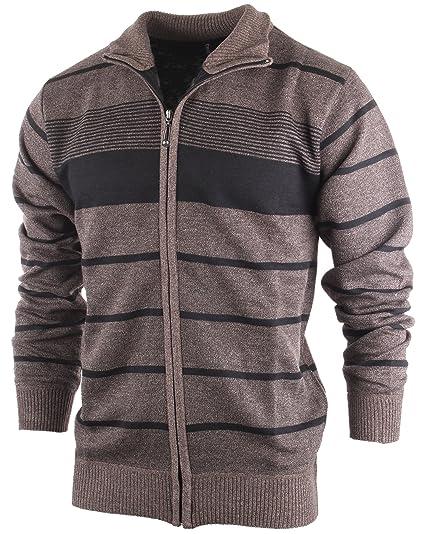 Enimay Mens Zip Up Striped Turtleneck Long Sleeve Sweater Business
