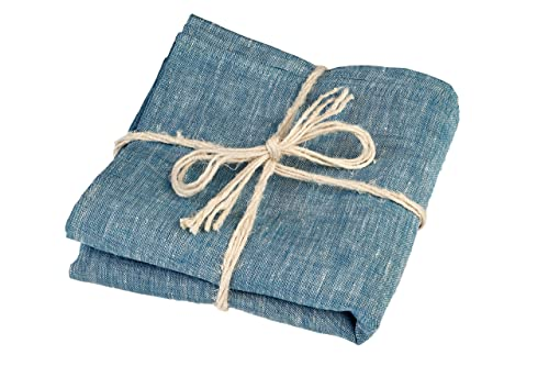 Green Foster Product Natural Soft Linen Flax Bath Towel, Blue