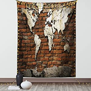 Lunarable Wanderlust Tapestry Twin Size, Grunge Concrete World Map on Old Brick Wall Construction Building Rough, Wall Hanging Bedspread Bed Cover Wall Decor, 68