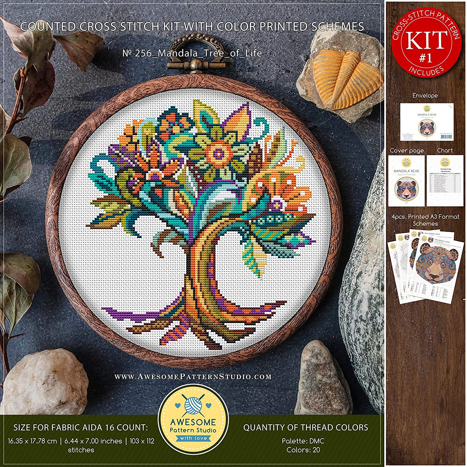 How to Cross Stitch Stitch Patterns Needlepoint Kits Mandala Tree of Life #K256 Embroidery Cross Stitch Kit Nature Cross Stitch Patterns