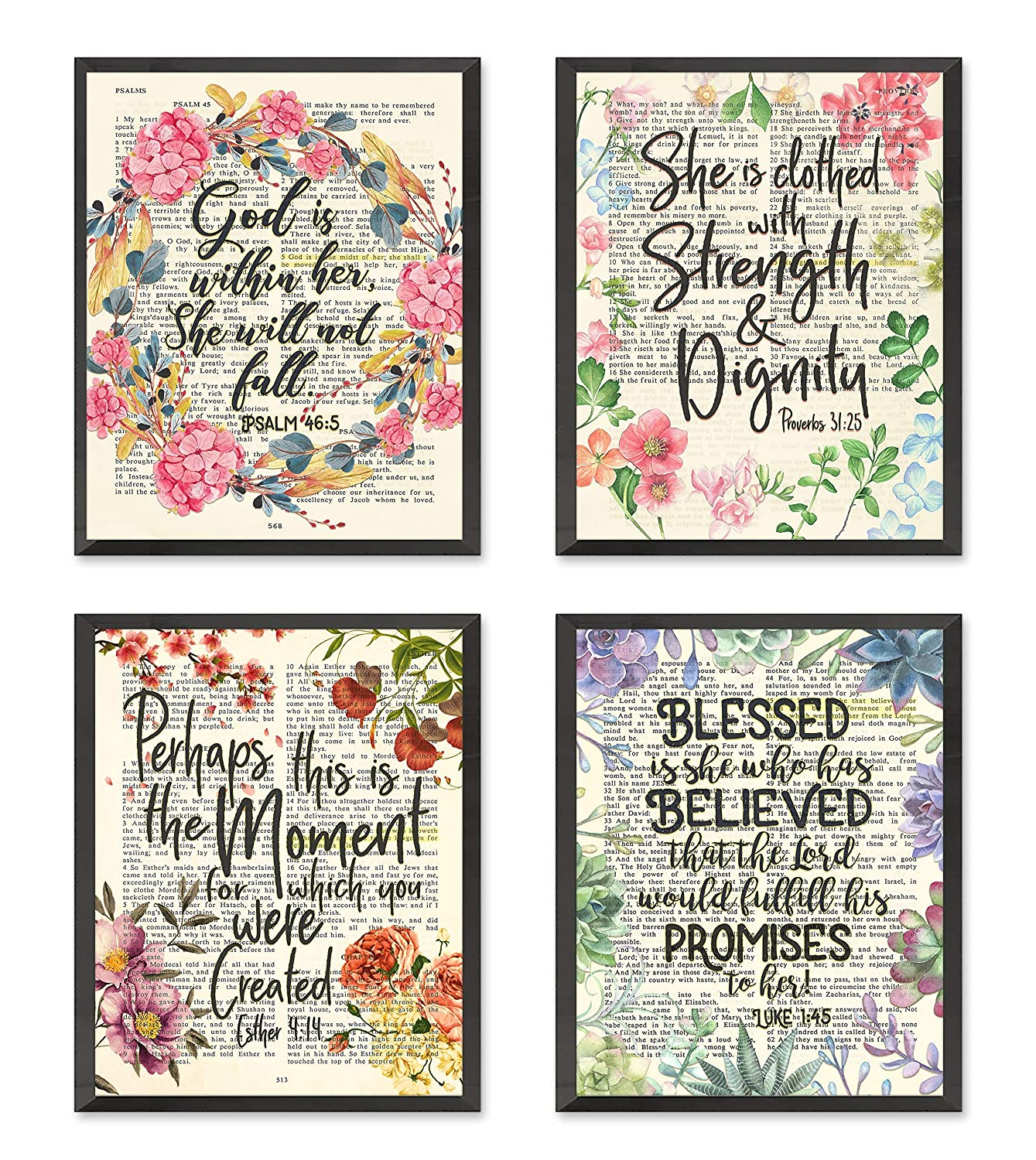 Psalm 46:5, Proverbs 31:25, Esther 4:14, Luke 1:45 Christian Art Prints for Her, Set of 4, Unframed, Bible Verse Scripture Wall Decor Poster, 8x10 Inches