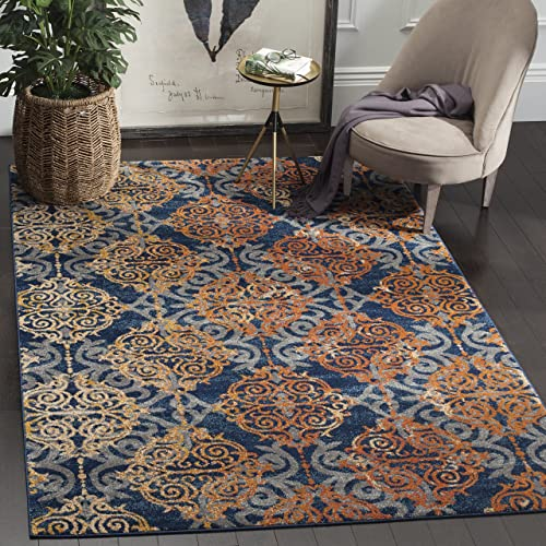 Safavieh Evoke Collection EVK230S Vintage Medallion Damask Blue and Orange Area Rug 4 x 6