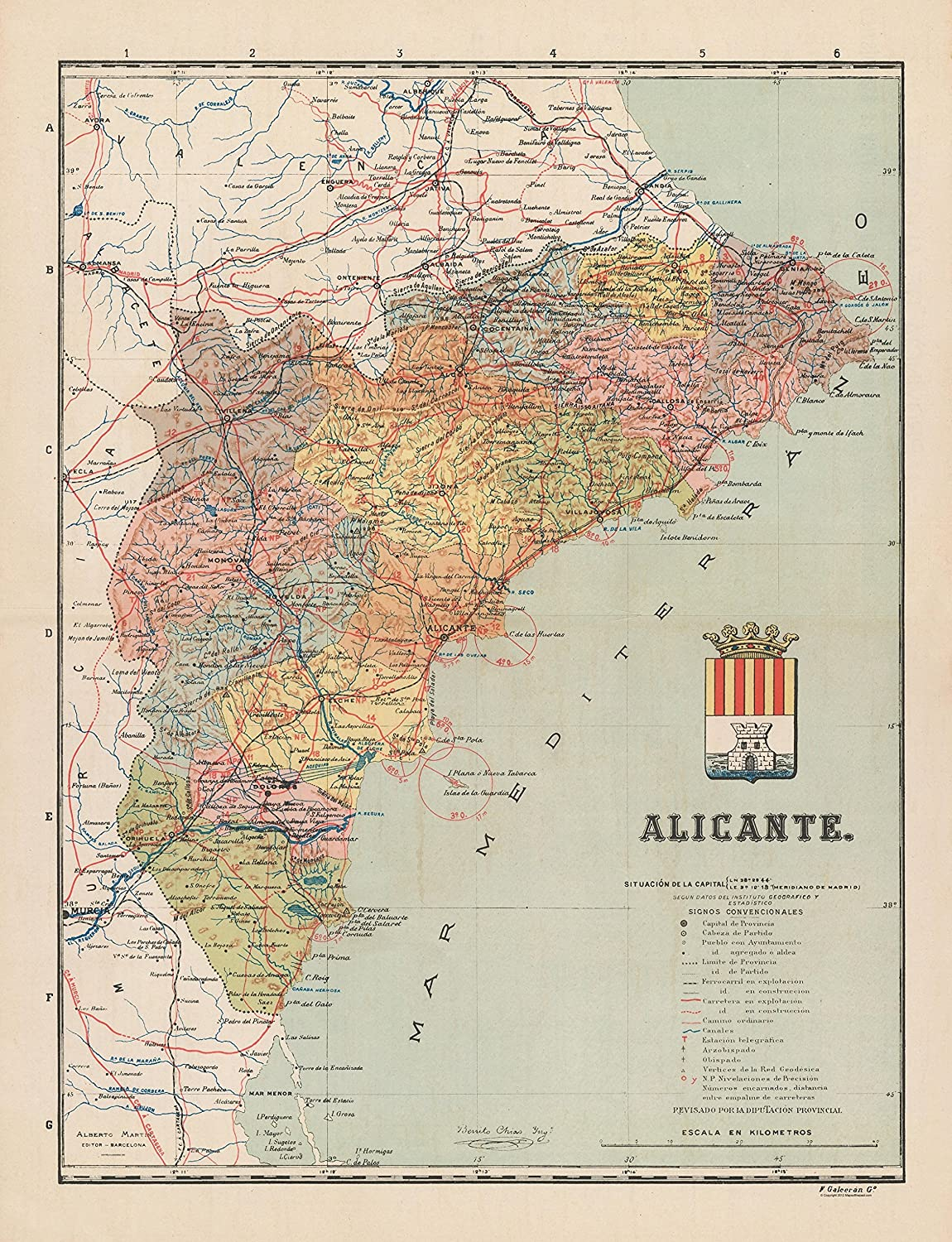Amazon.com: MAPS OF THE PAST Europe Alicante - Martin 1900 ...