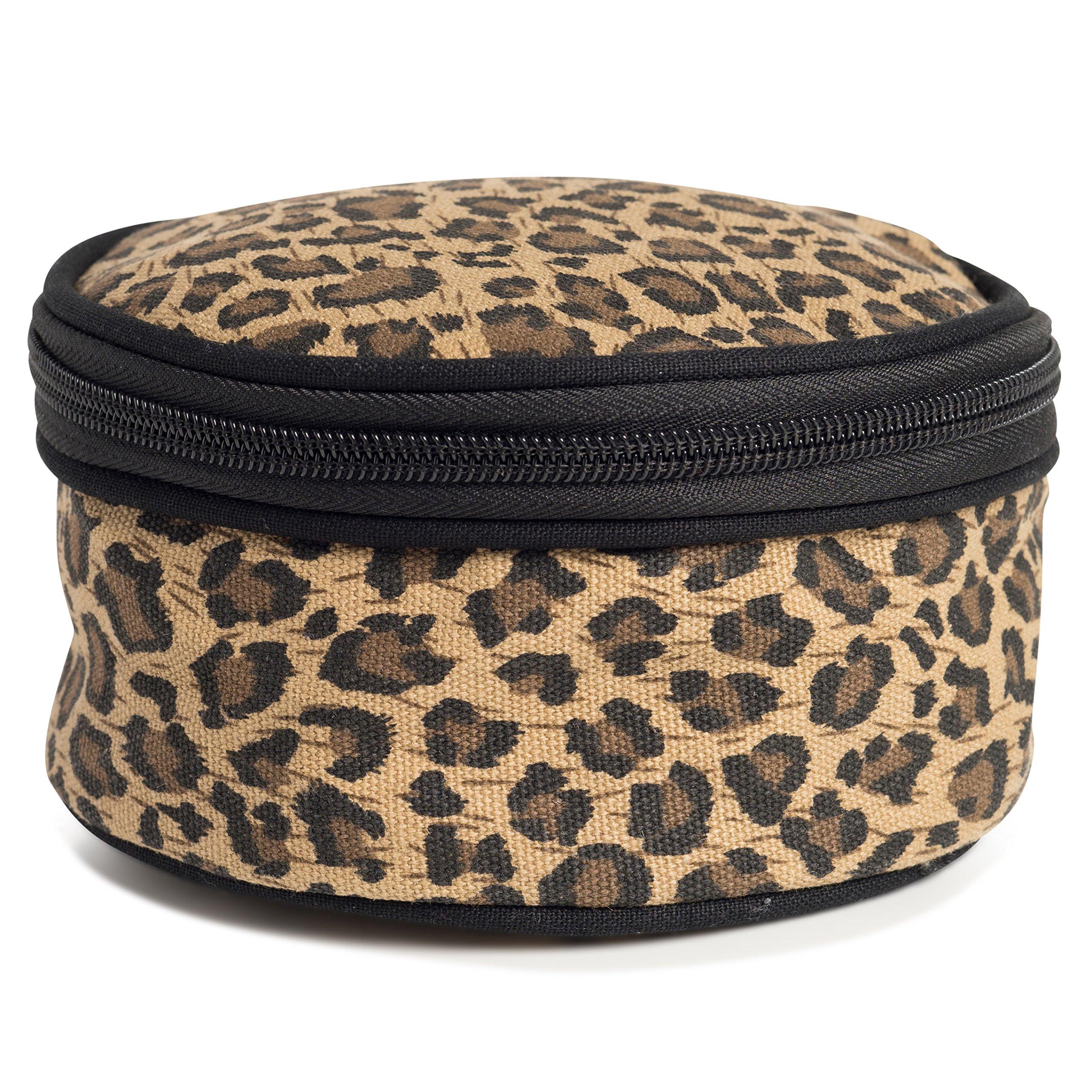 Round Travel Jewelry Case (Leopard)