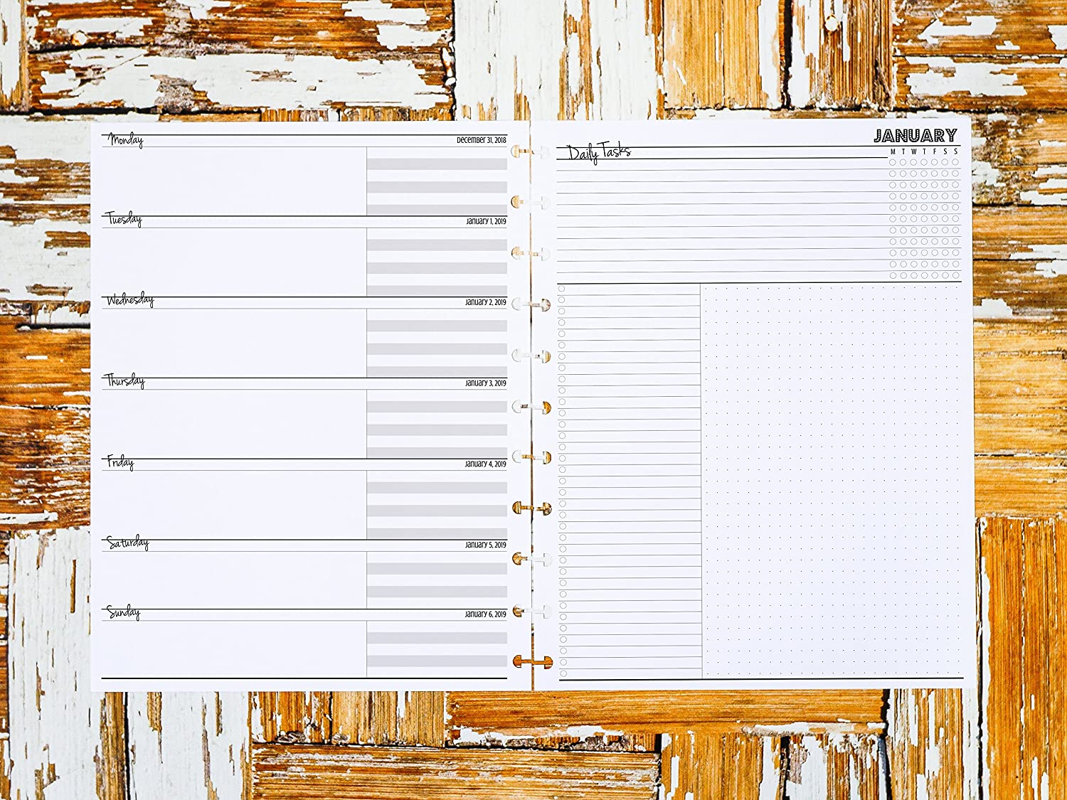 2018 2019 Weekly planner inserts in Disc-bound Letter Size for Staples Arc TUL Big Happy Planner