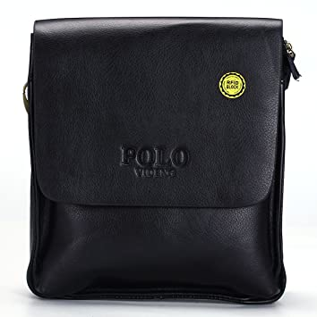 VIDENG POLO® Newest RFID Blocking Secure Men s Leather Briefcase Shoulder  Messenger Bag (Black-V2)  Amazon.co.uk  Garden   Outdoors f8374247cd