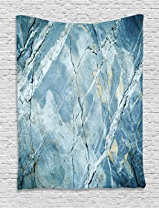 """Ambesonne Marble Tapestry, Exquisite Granite Stone Architecture Floor Nature Faded Rock Picture, Wall Hanging for Bedroom Living Room Dorm Decor, 40"""" X 60"""", Light Blue"""