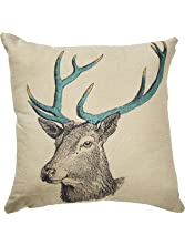 "Oliasports Deer Cotton Linen Square Decorative Deer Head Throw Pillow Case Cushion, 18"" x 18"""