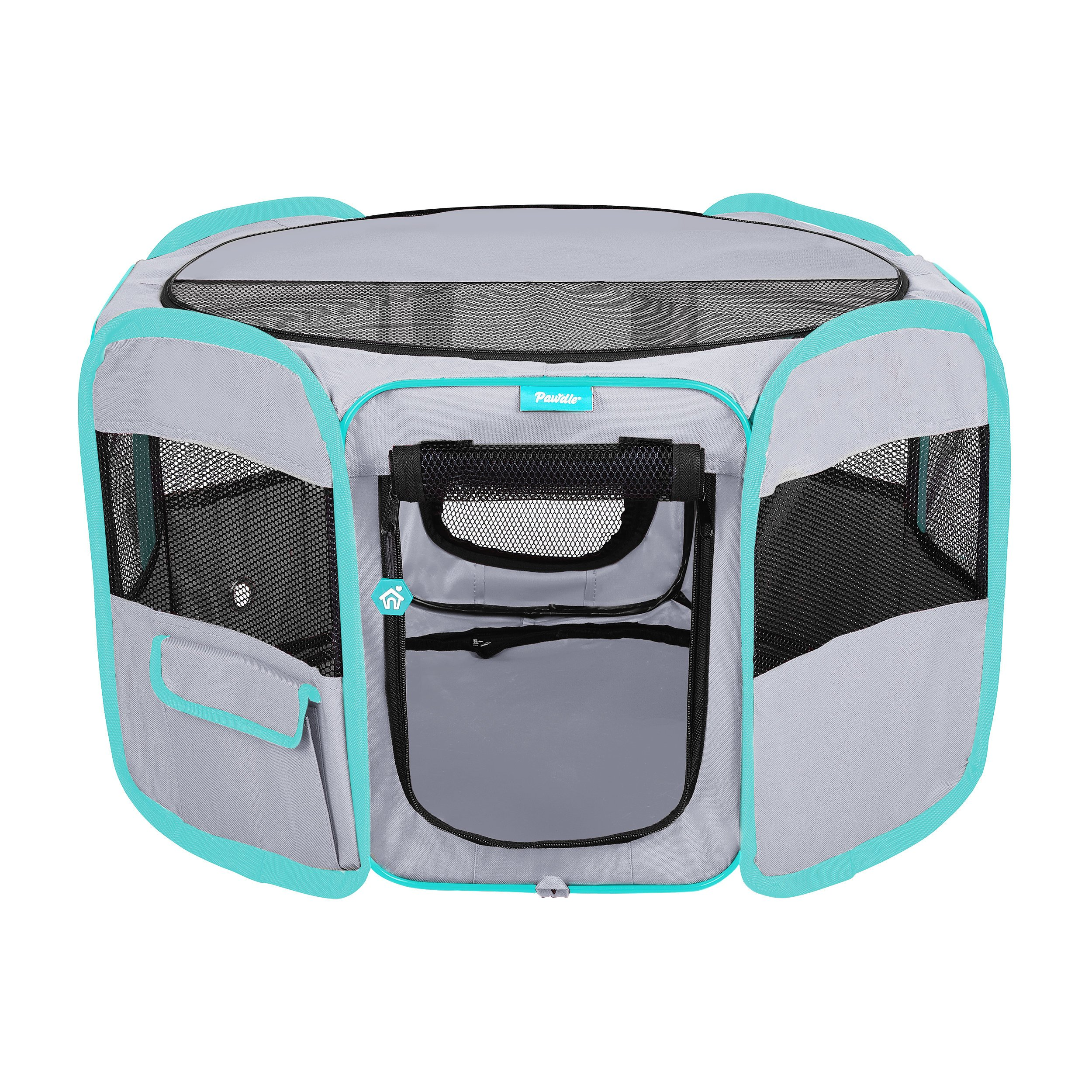 DELUXE PREMIUM Pet Dog Playpen Portable Soft Dog Exercise Pen Kennel with Carry Bag for Dogs, Cats, Kittens, and all Pets (Small, Grey)