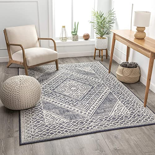Well Woven Leela Dark Blue Diamonda Medallion Pattern Area Rug 5×7 5 3 x 7 3