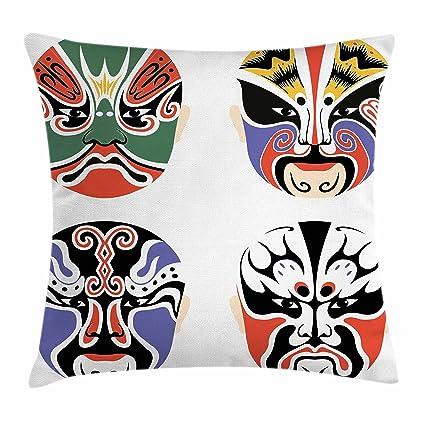 Kabuki máscara decoración manta almohada cojín por Ambesonne ...