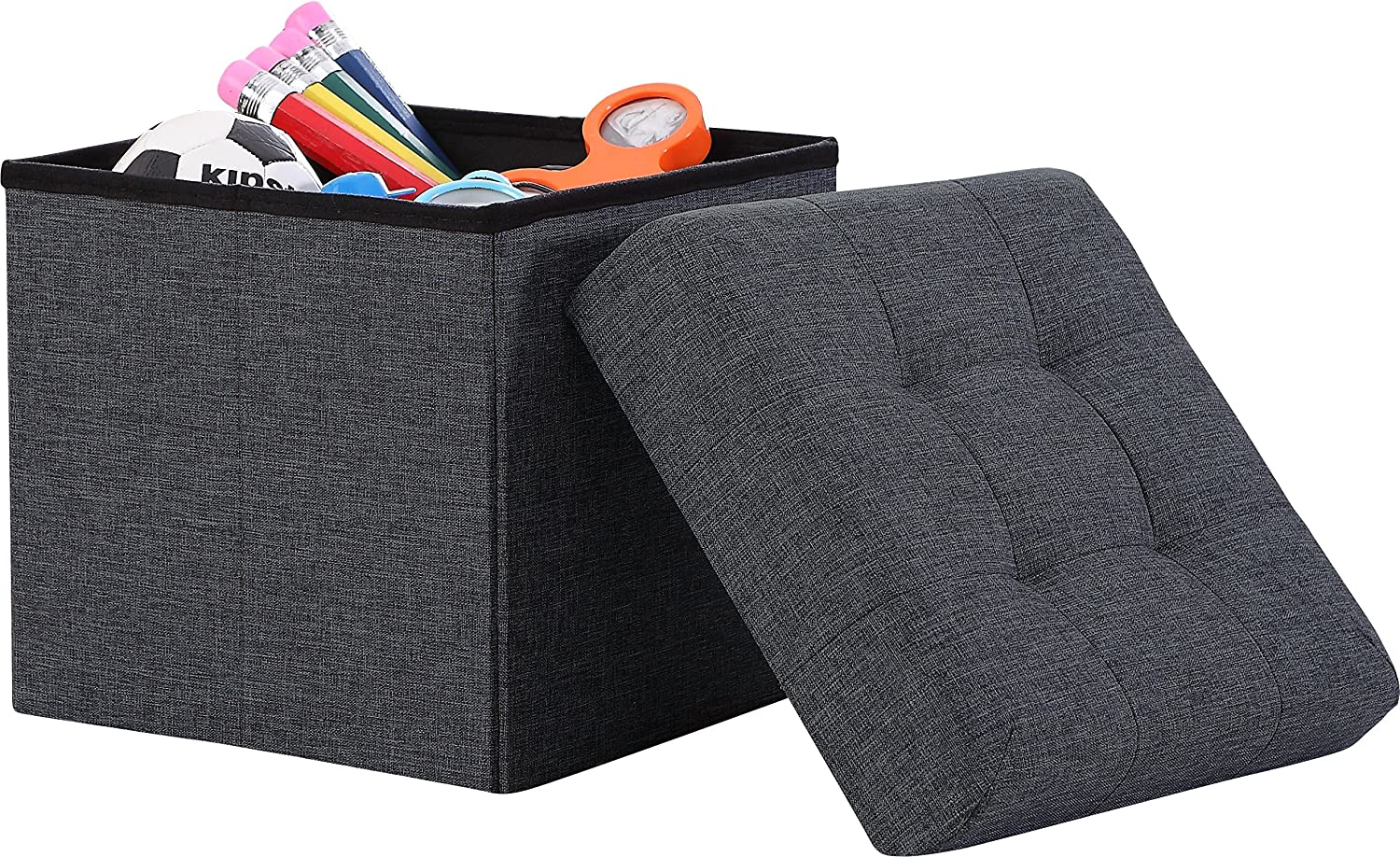 "Ornavo Home Foldable Tufted Linen Storage Ottoman Square Cube Foot Rest Stool/Seat - 15"" x 15"" x 15"" (Black)"