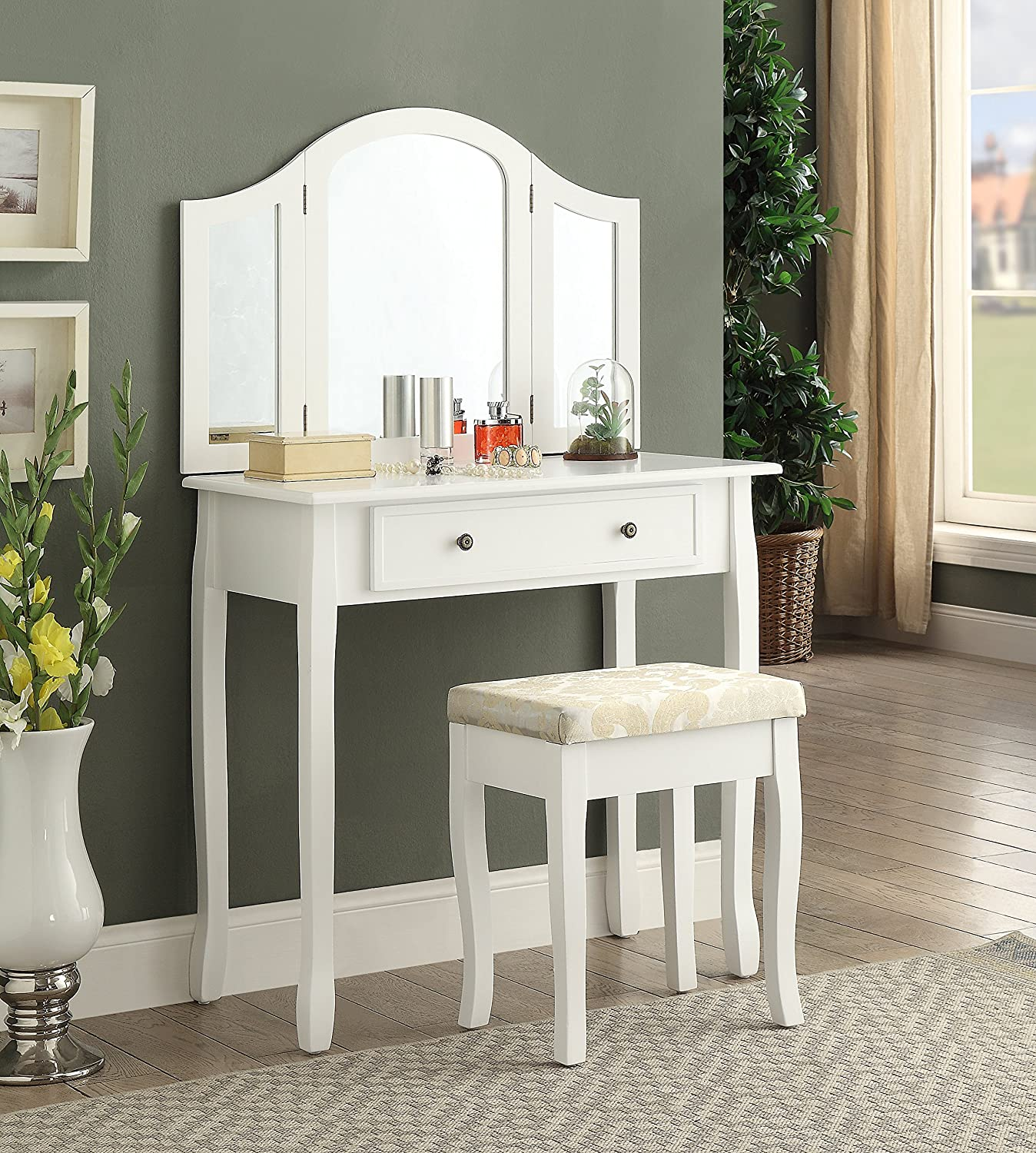 Amazon.com: Roundhill Furniture Sunny White Wooden Vanity, Make Up Table  And Stool Set: Kitchen U0026 Dining