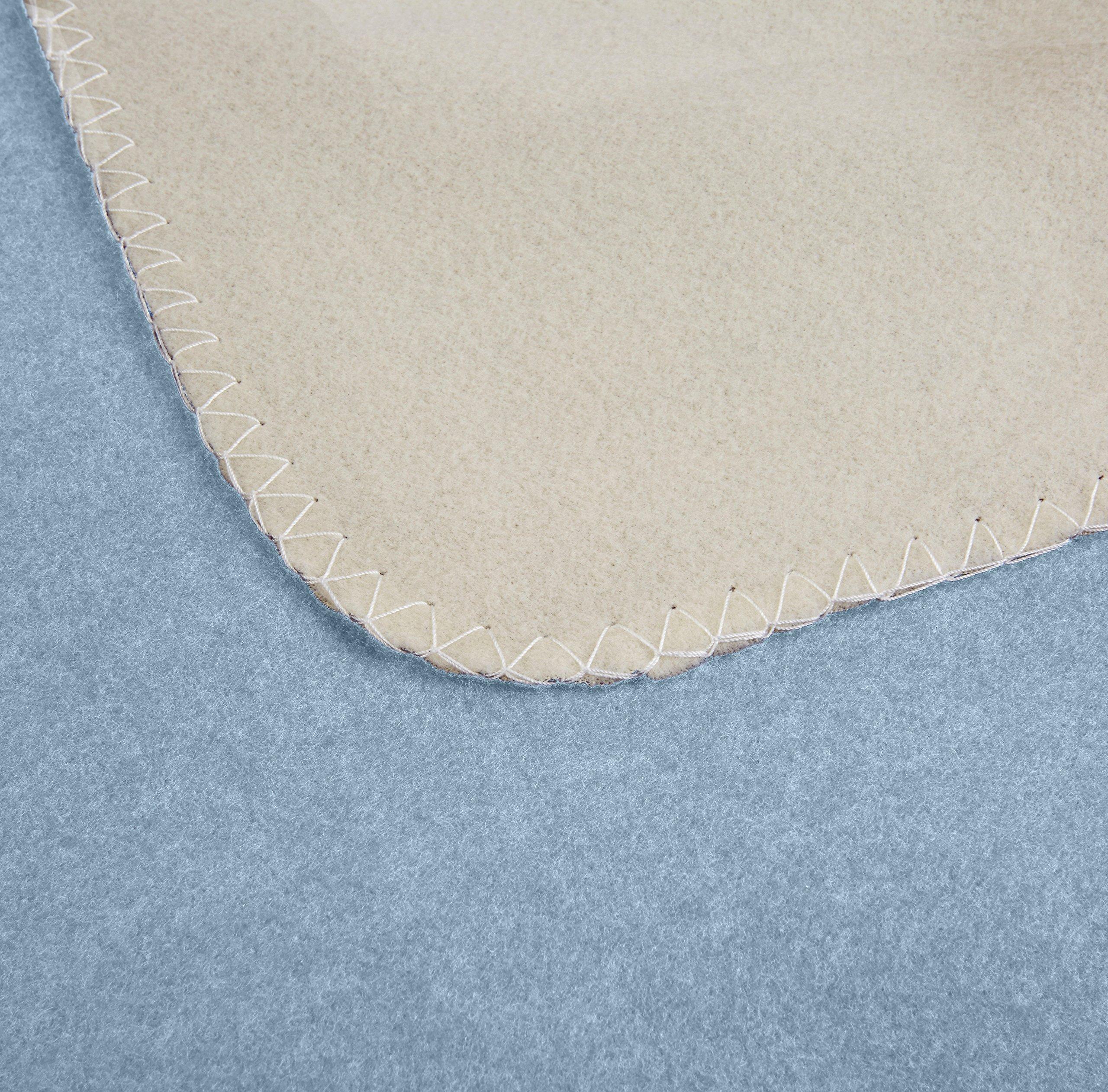 AmazonBasics Reversible Fleece Blanket - Throw, Spa Blue/Taupe by AmazonBasics (Image #4)