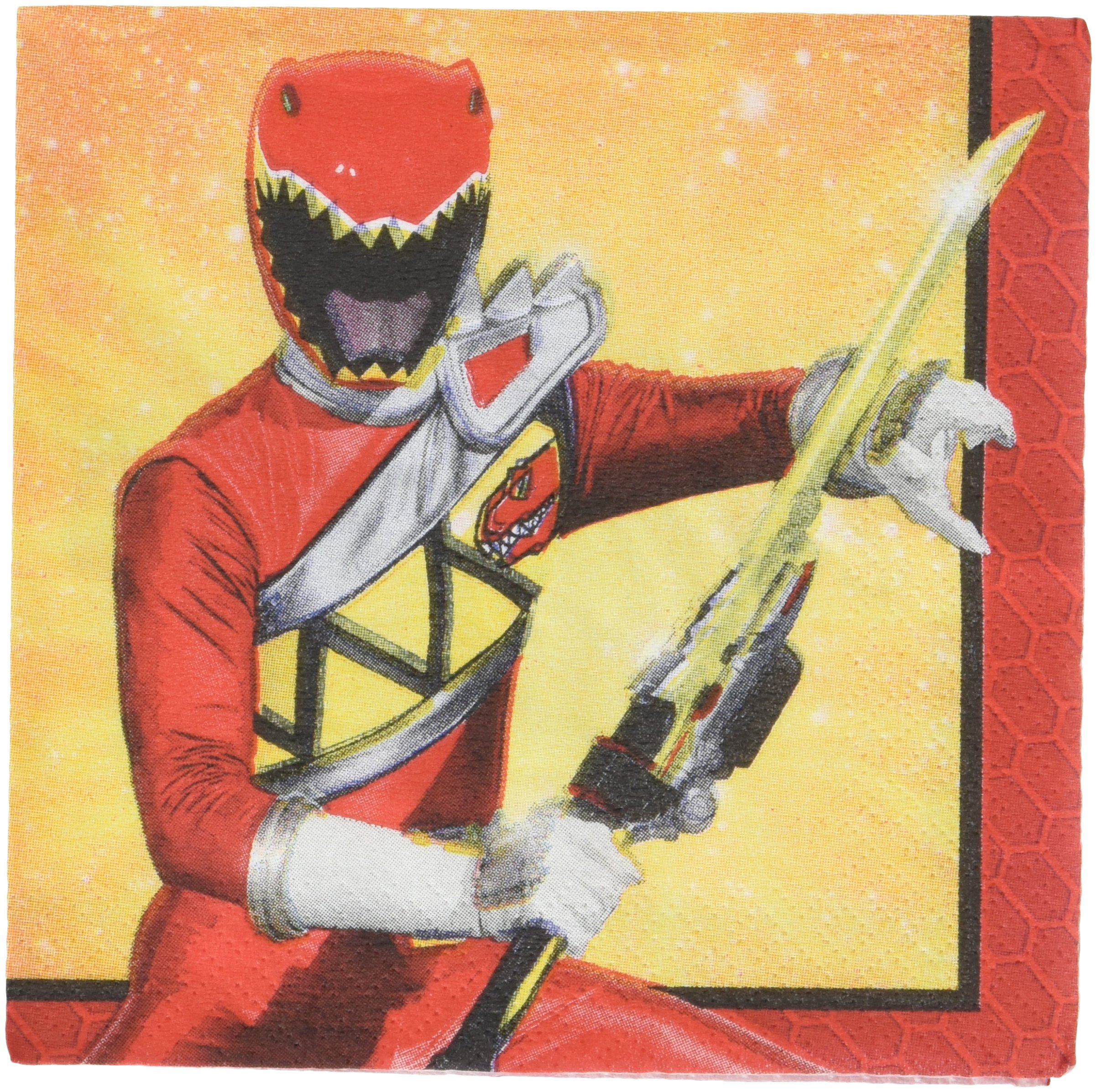 amscan Power Rangers Dino Charge Beverage Napkins, Party Favor, 96 Ct.