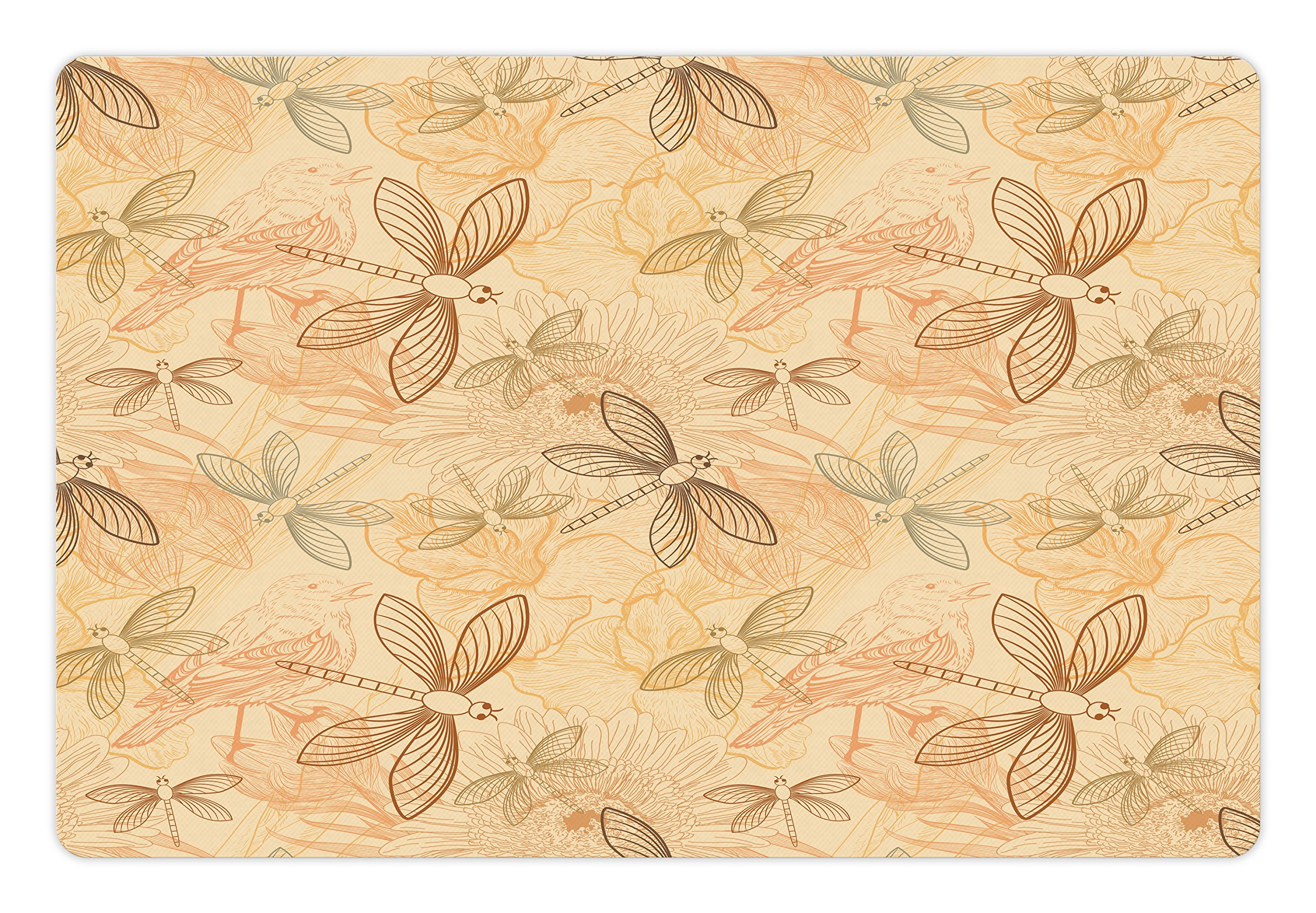Ambesonne Beige Pet Mat for Food and Water, Vintage Birds and Dragonflies Artprint with Modern Doodle Style Animal Inspired Decor, Rectangle Non-Slip Rubber Mat for Dogs and Cats, Cream