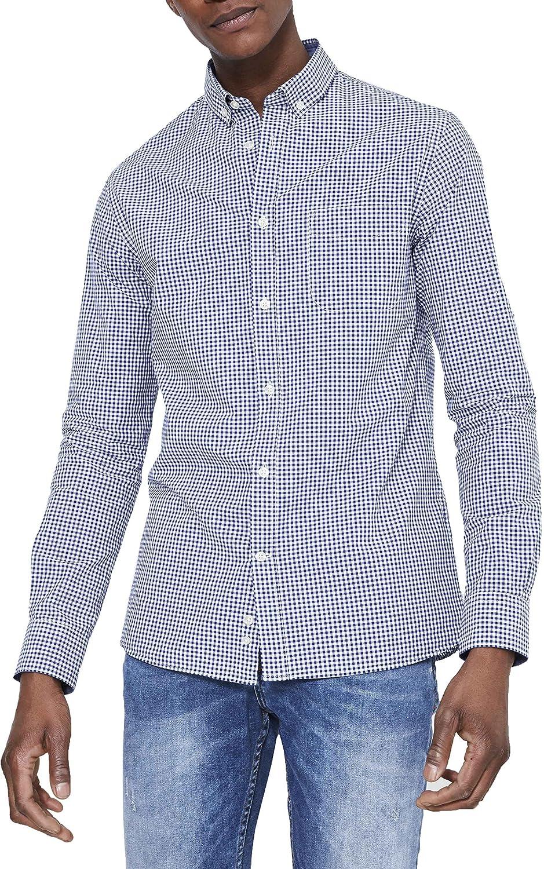 Celio LAVICHY Camisa Casual, Azul (Marine 207), M para Hombre ...