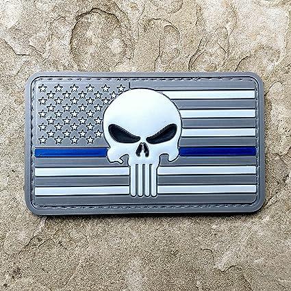 Subdued fina verde línea delgada línea azul americano bandera y PVC de goma de el Castigador moral parche – Militar y airsoft parche de moral Velcro respaldado por Neo Tactical Gear, Subdued