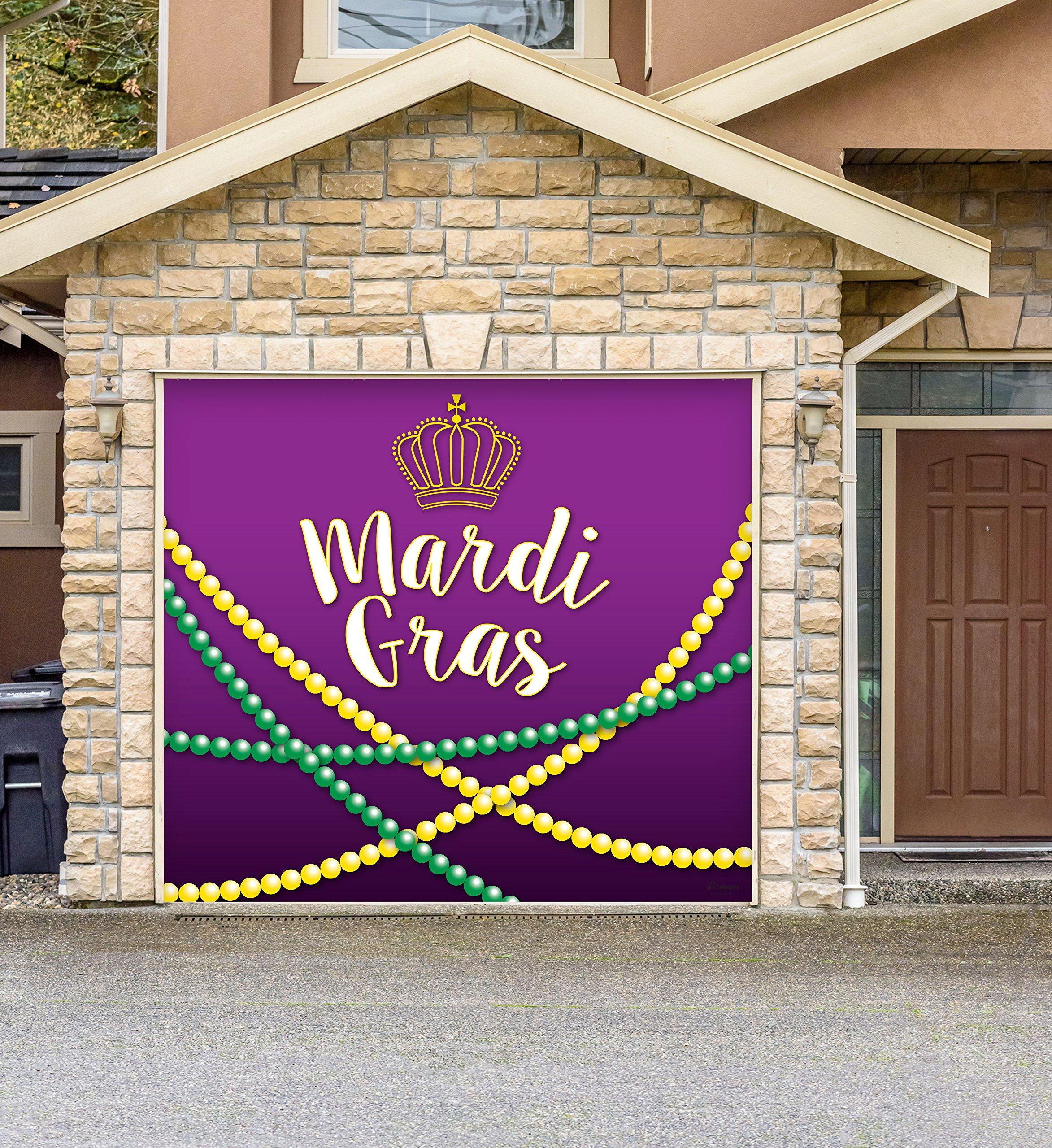Outdoor Mardi Gras Decorations Garage Door Banner Cover Mural Décoration 8'x9' - Mardi Gras Beads - ''The Original Mardi Gras Supplies Holiday Garage Door Banner Decor''