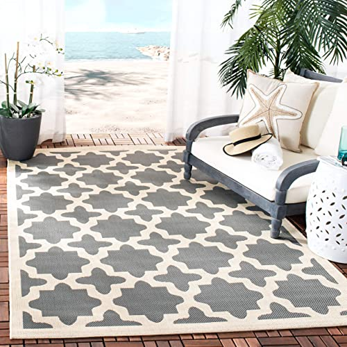Safavieh Courtyard Collection CY6913-246 Anthracite and Beige Indoor Outdoor Area Rug 2 x 3 7