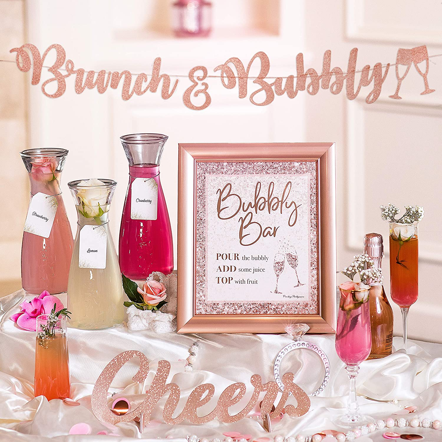 Mimosa Bar Kit | Bachelorette Party Decorations, Rose Gold Birthday Decorations, Blush Pink Bridal Shower Banner, Princess Baby Shower for Girl, Snowflakes Girl Baby Shower, Bridal Brunch Decor (pink)