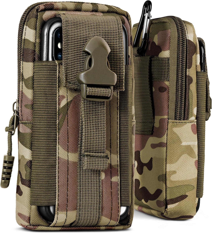 Camouflage Universal Camo-Gr/ün OneFlow/® Multifunktionale Outdoor Handy-Tasche aus Oxford Nylon f/ür Samsung A mit G/ürtel-Halter und Karabiner J Reihe
