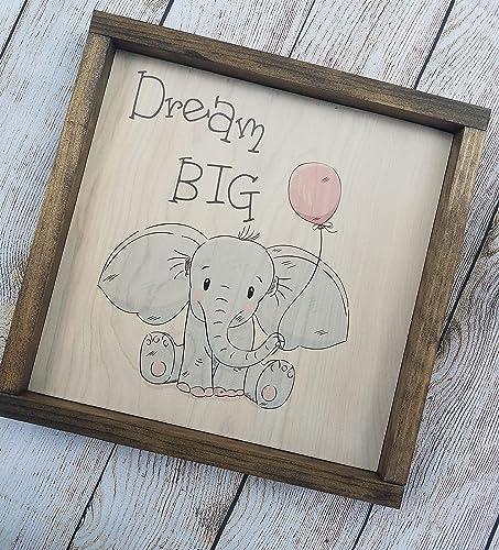 Amazon Com Framed Wood Elephant Nursery Wall Art Dream Big Wood