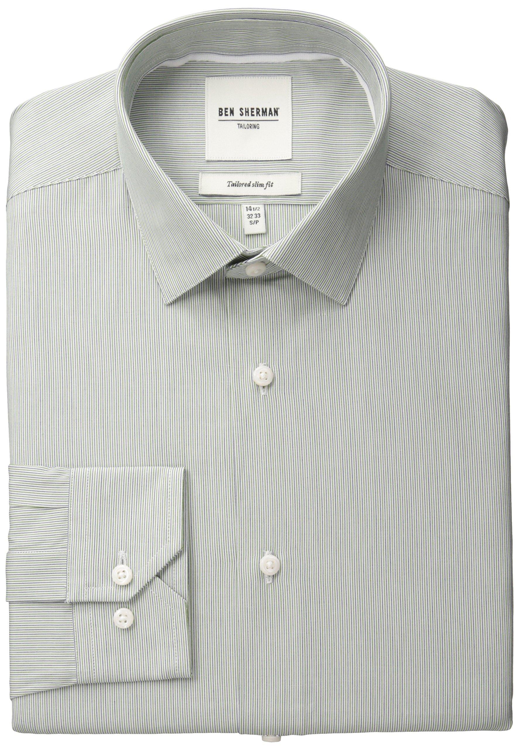 Ben Sherman Men's Slim Fit Fineline Stripe Spread Collar Dress Shirt, Green, 16'' Neck 34''-35'' Sleeve