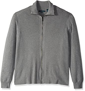 Perry Ellis Men s Big and Tall Solid Ribbed Full-Zip Sweater at Amazon Men s  Clothing store  50219c7dc