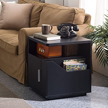 Perfect Furniture Of America Modern Jules Black Storage End Table. Compact End Table  With Multiple Storage