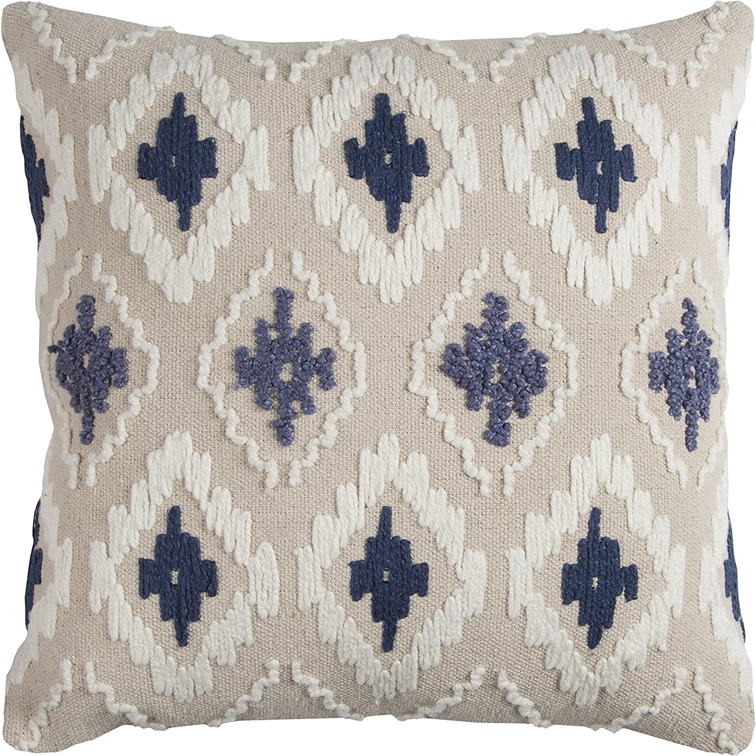 "Rizzy Home T11762 Decorative Pillow, 20""X20"", Blue/White/Neutral"