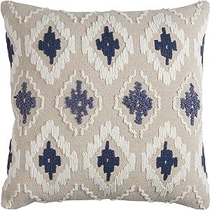 "Rizzy Home T11762 Decorative Pillow, 20""X20"", Blue/White/Neutral"