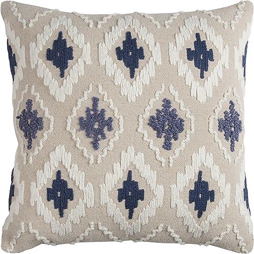 Rizzy Home T11762 Decorative Pillow, 20 X20 , Blue White Neutral