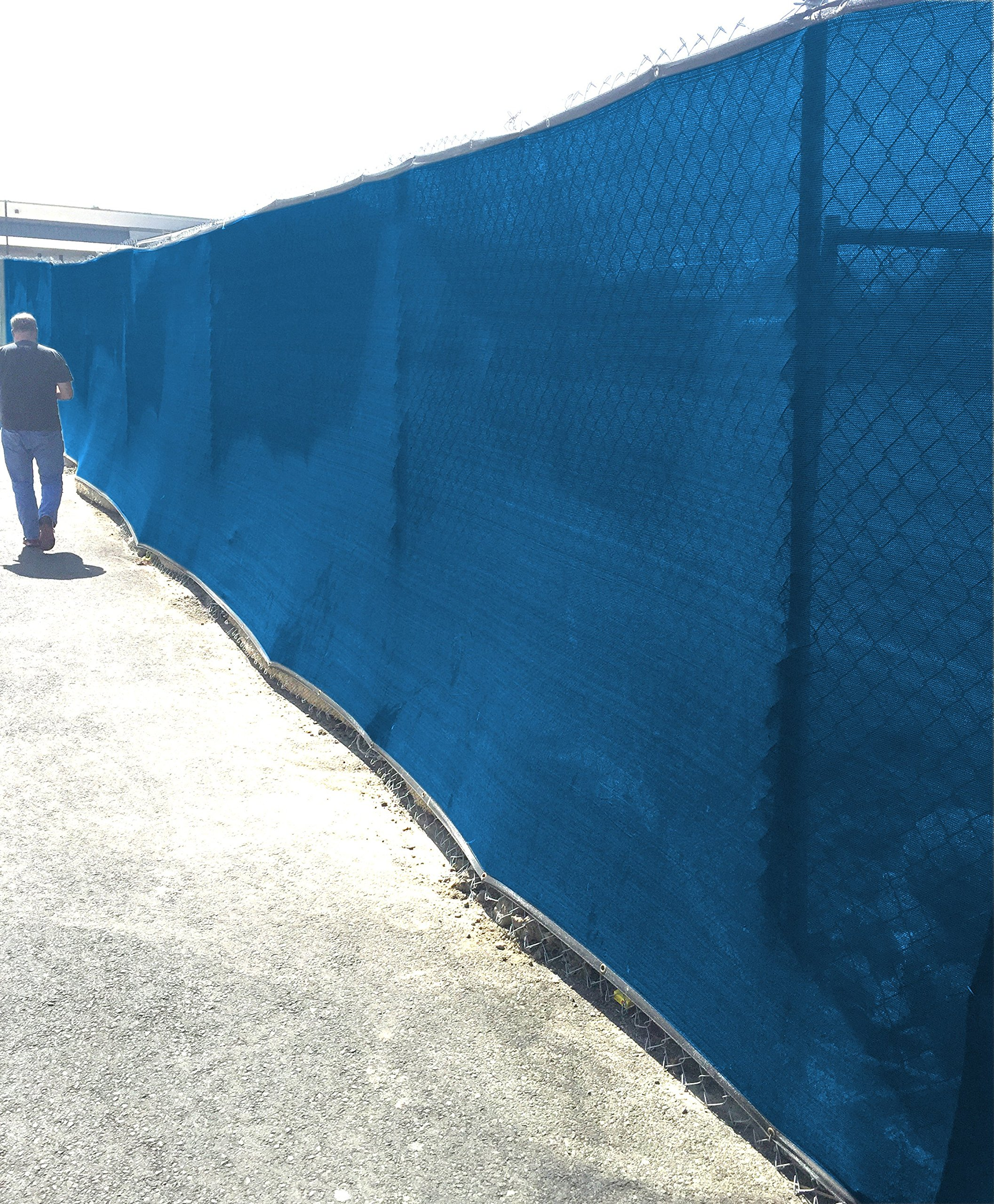HD-Double Stitched Fence Screen Mesh 8' x 50' (EXTRA LONG) Shade For Fence Cover (Blue)