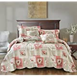 tache home fashion dainty sweetheart cottage patchwork quilted coverlet bedspread set bright vibrant scalloped multi