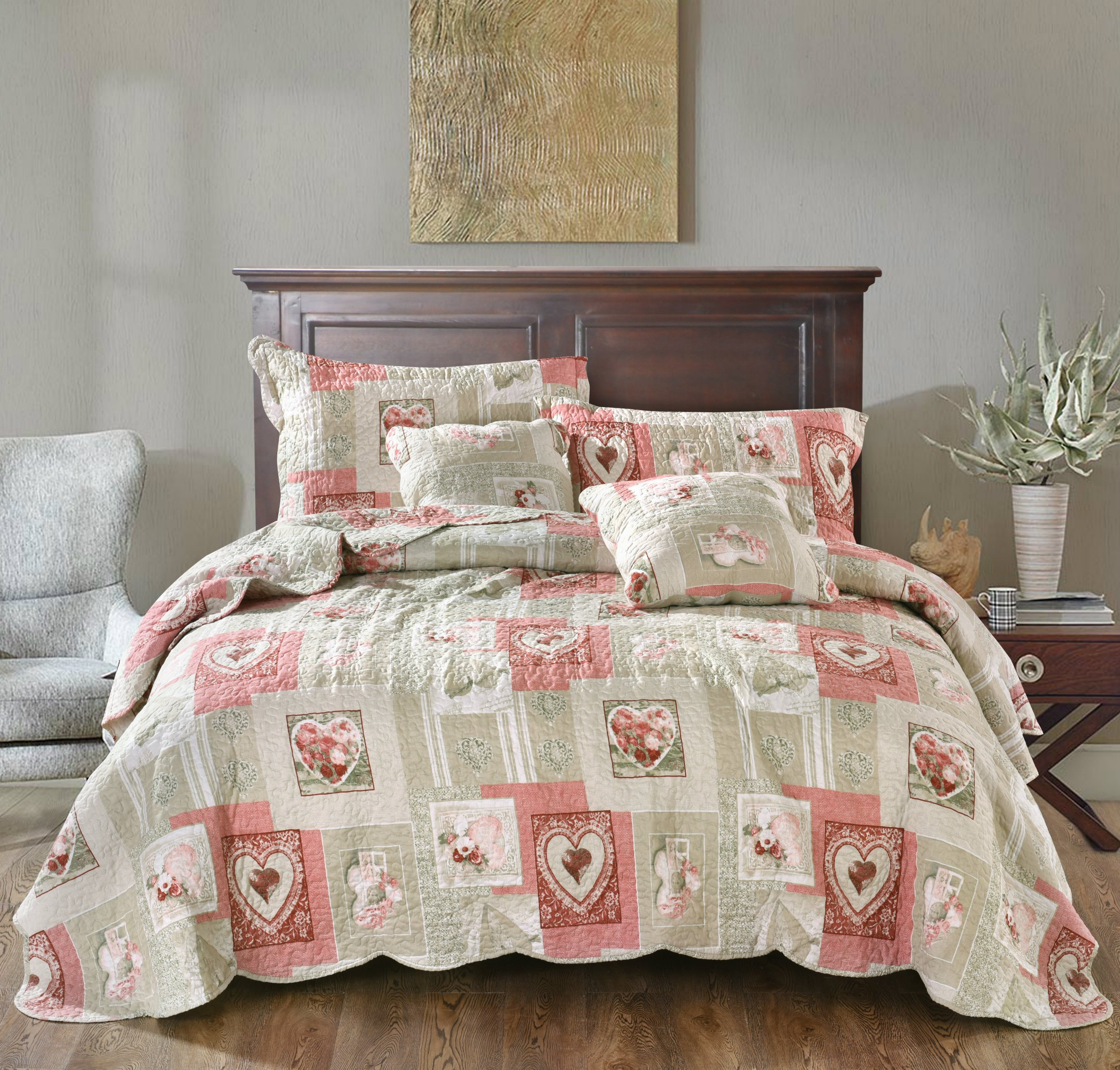 Tache Home Fashion Dainty Sweetheart Cottage Patchwork Quilted Coverlet Bedspread Set - Bright Vibrant Scalloped Multi Colorful White Red Pink Floral Print - Cal King - 3-Pieces