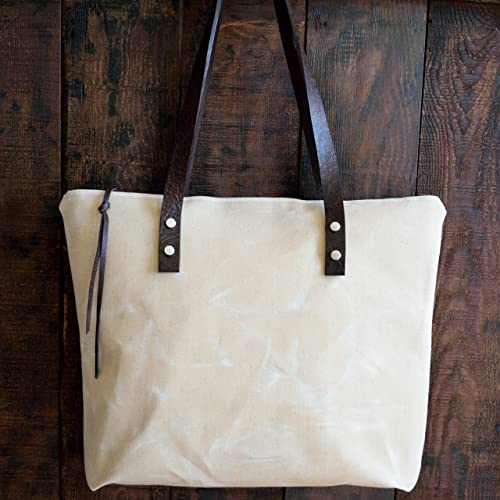 Amazon.com  Waxed Canvas Tote Bag with Genuine Leather Strap Bag ... a5074003f8f7