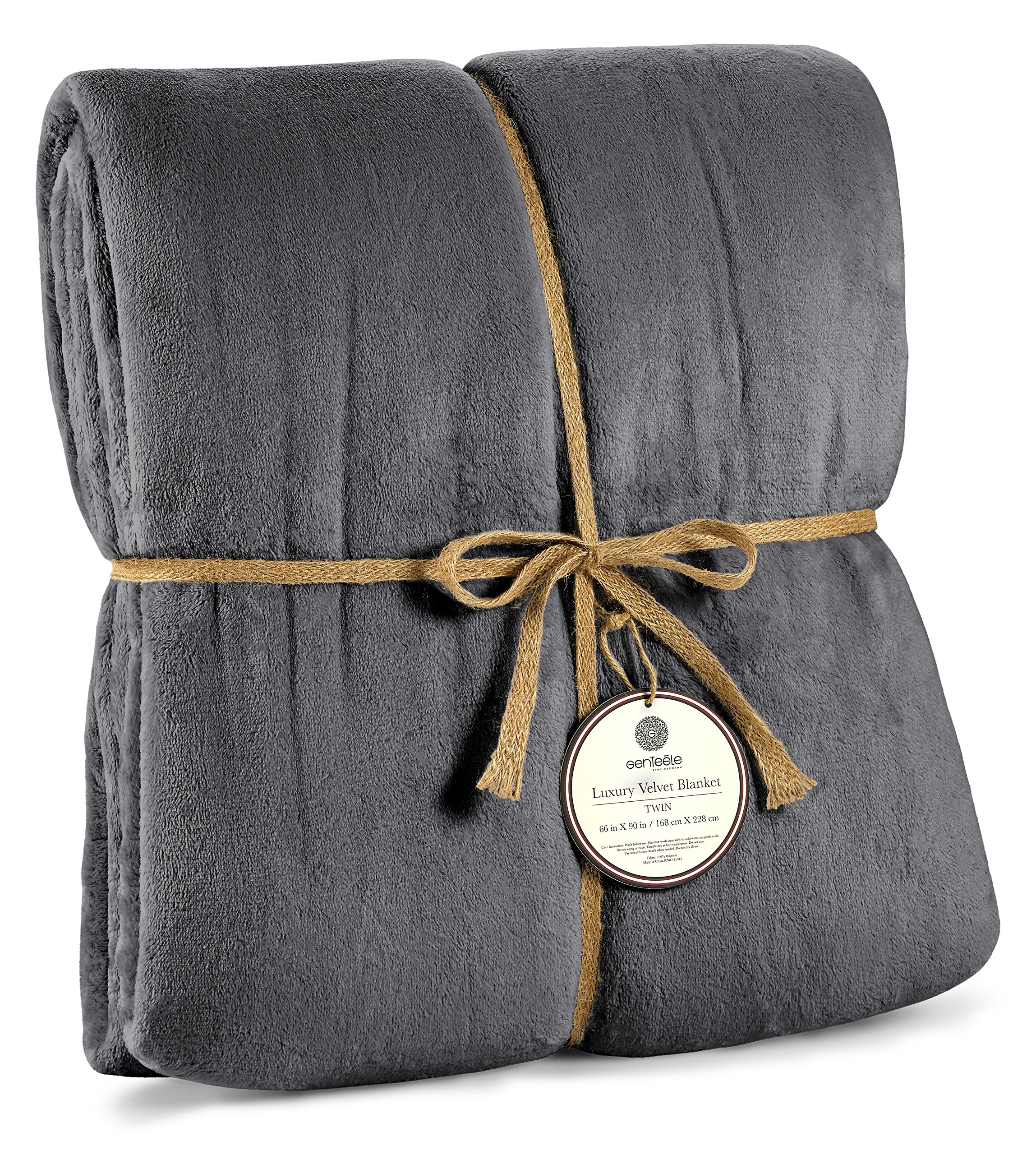 Genteele Luxurious Velvet Fleece Blanket Ultra Plush Soft Cozy Warm Bed Blanket, Twin 66'' X 90'', Charcoal