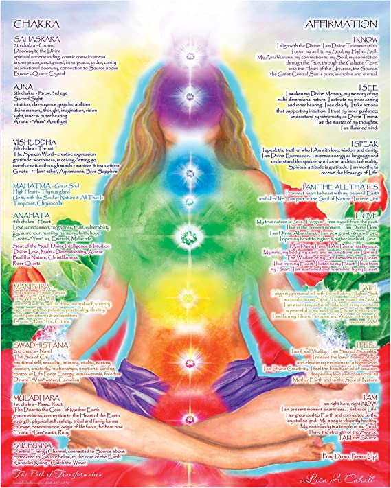 CHAKRA CENTERS CHART very detailed age health Poster Fabric 20x30 24x36 E-3225