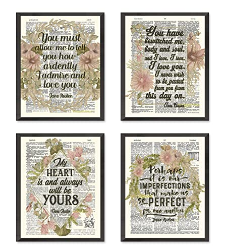 Amazon Com Jane Austen Quote Wall Art Prints Set Of 4 Unframed Vintage Highlighted Dictionary Page Floral Wall Art Decor Poster Sign All Sizes Handmade