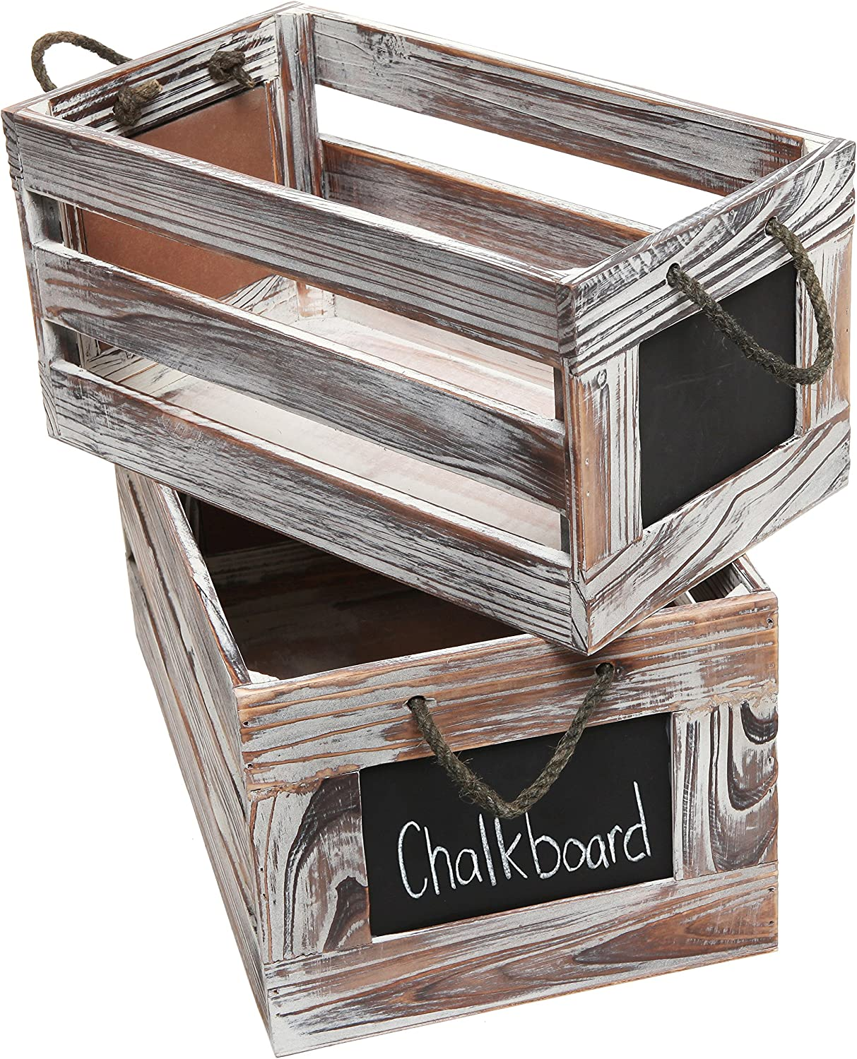 MyGift Torched Wood Finish Decorative Boxes, Nesting Storage Crates with Chalkboard Labels and Handles, Set of 2