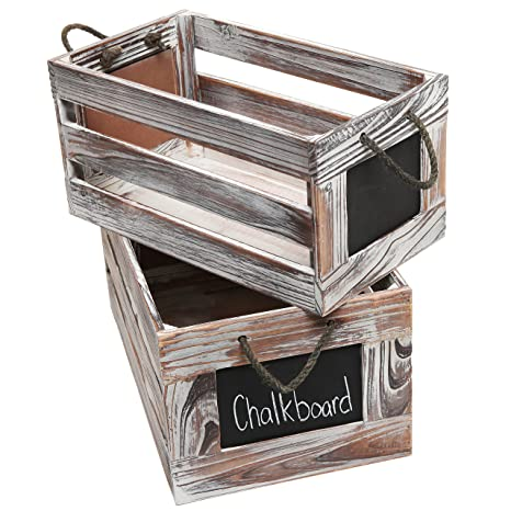 Distressed Torched Wood Finish Nesting Boxes / Rustic Storage Crates With  Chalkboard Labels (Set Of