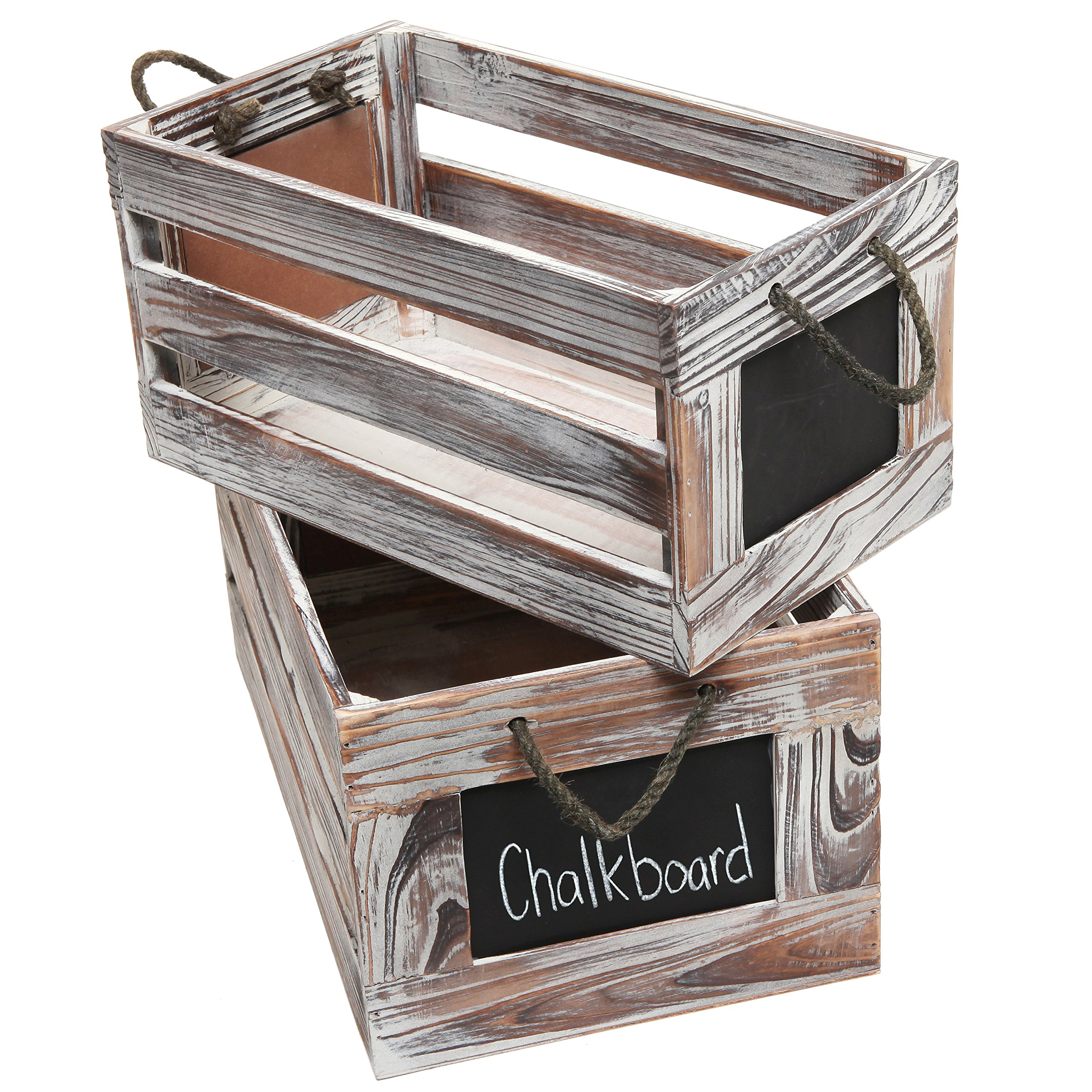 Distressed Torched Wood Finish Nesting Boxes / Rustic Storage Crates with Chalkboard Labels (Set of 2) by MyGift (Image #1)